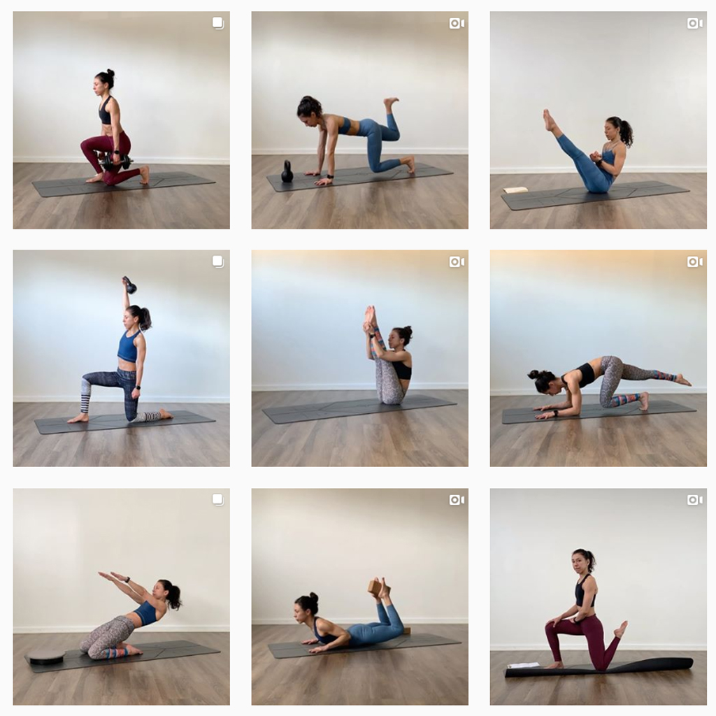 instagram collage of Strength Training to Complement Yoga