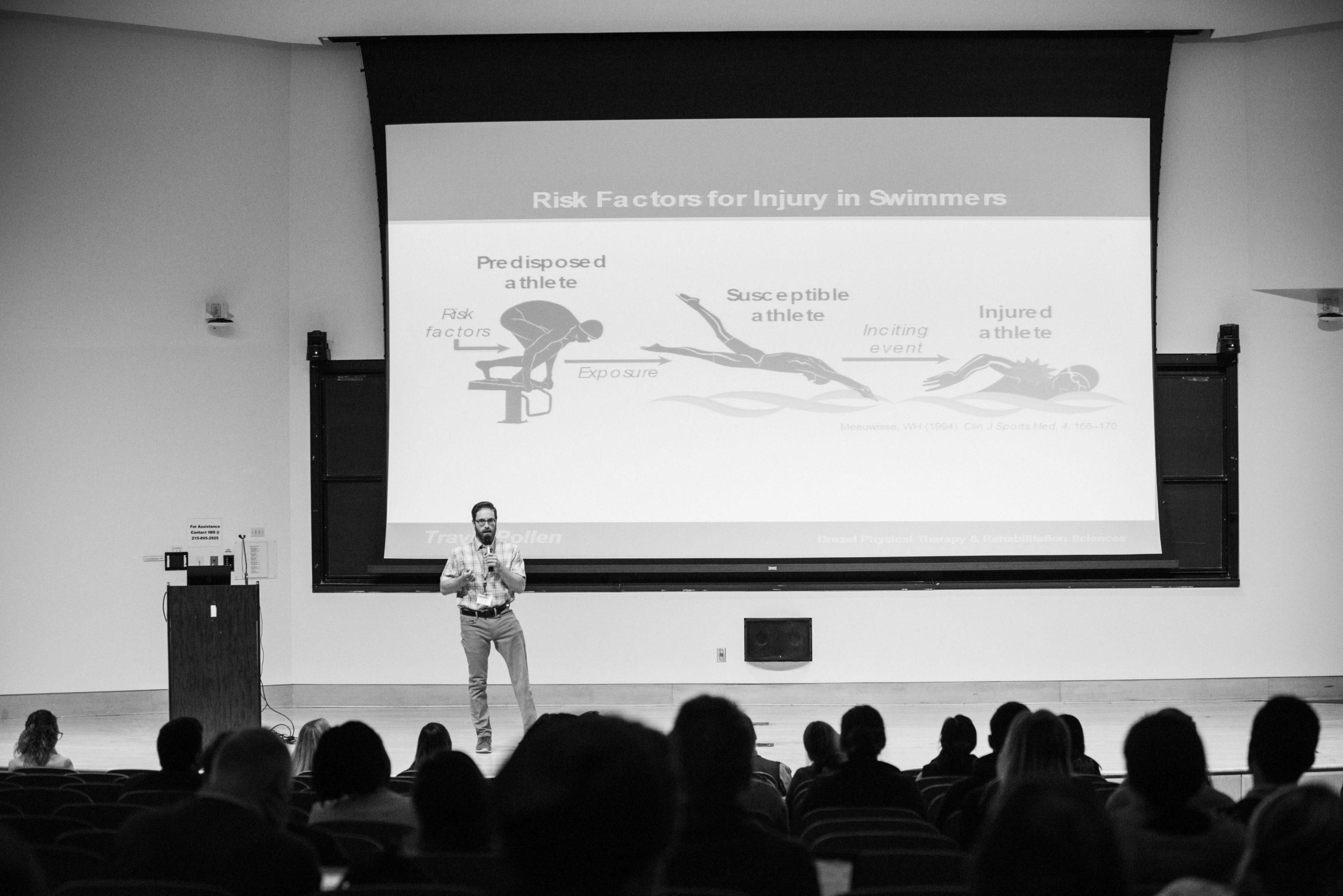 Travis speaking assessing risk factor for injury in swimming