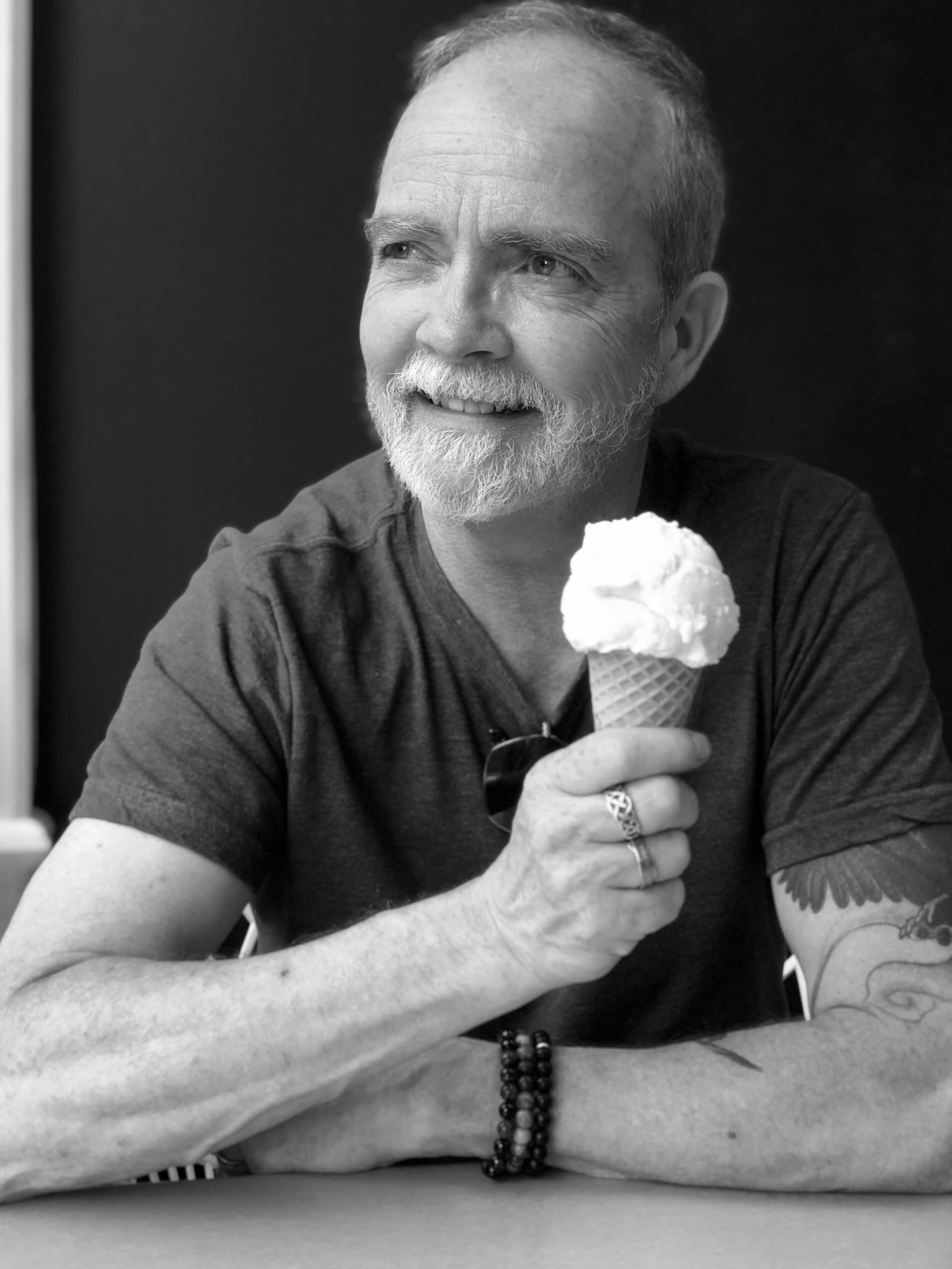 photo of david wilson in black and white holding an ice cream cone